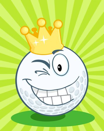 Golf Ball Cartoon Character With Gold Crown Winking Vector