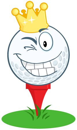 Happy Golf Ball Cartoon Character With Gold Crown Winking Vector