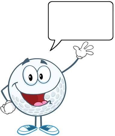 shoes cartoon: Golf Ball Cartoon Character Waving For Greeting With Speech Bubble Illustration