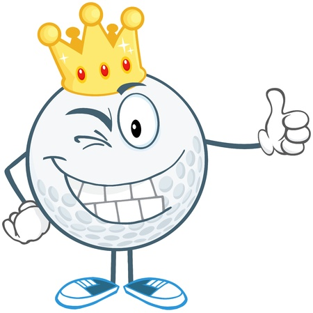 Winking Golf Ball Cartoon Character With Gold Crown Holding A Thumb Up Vector