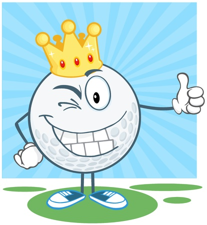 Winking Golf Ball With Gold Crown Holding A Thumb Up Vector