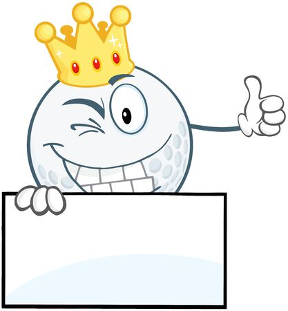 Winking Golf Ball With Gold Crown Holding A Thumb Up Over Sign Vector