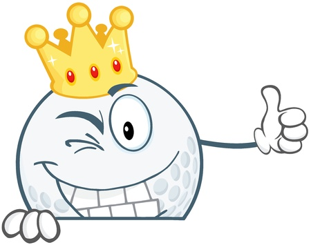 winking: Winking Golf Ball Cartoon Character With Gold Crown Holding A Thumb Up Over Sign