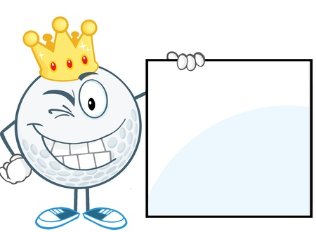 Winking Golf Ball With Gold Crown Showing A Sign Vector