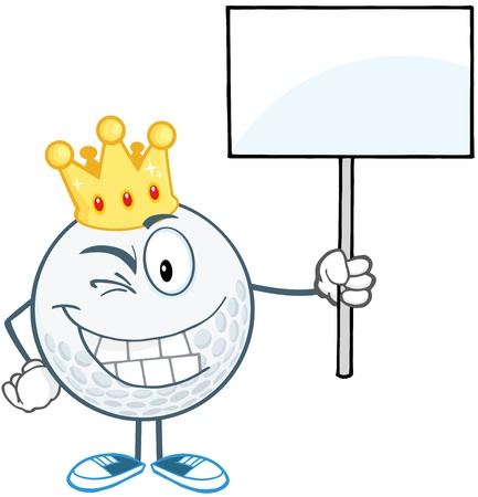 Winking Golf Ball With Gold Crown Holding A Blank Sign Vector