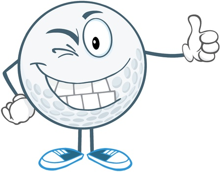 winking: Winking Golf Ball Cartoon Character Holding A Thumb Up