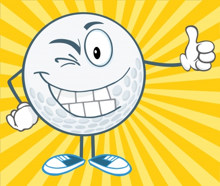 winking: Winking Golf Ball Holding A Thumb Up