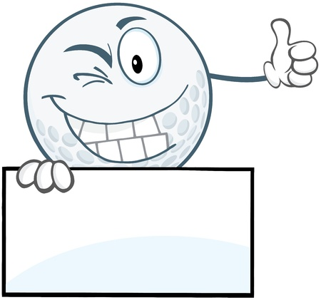 winking: Winking Golf Ball Holding A Thumb Up Over Blank Sign Illustration