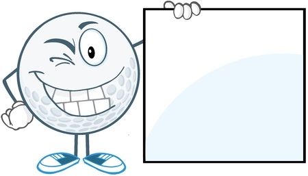Winking Golf Ball With Showing A Sign Vector