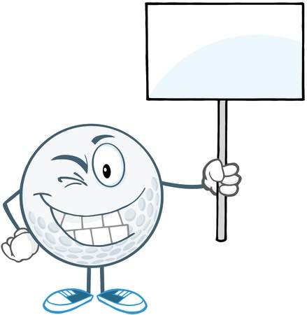 Winking Golf Ball Holding A Blank Sign Vettoriali