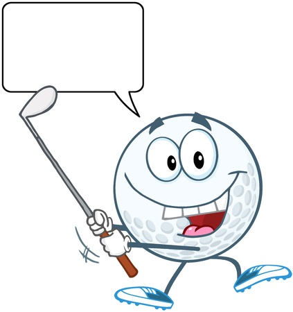 Happy Golf Ball Swinging A Golf Club With Speech Bubble Stock Vector - 20749071