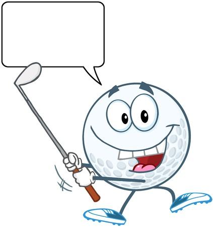 cartoon golf: Happy Golf Ball Swinging A Golf Club With Speech Bubble