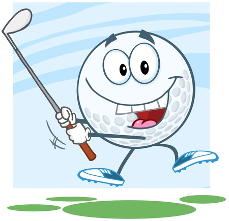 Happy Golf Ball Cartoon Character Swinging A Golf Club Vector