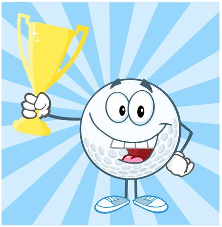 Golf Ball Cartoon Character Holding Prize Trophy Cup Vector