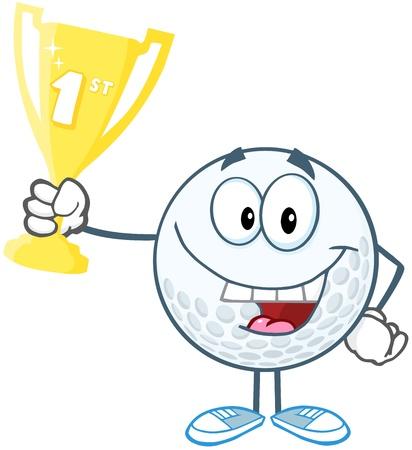 primer premio: Feliz pelota de golf Holding Primer Premio Trofeo de la Copa