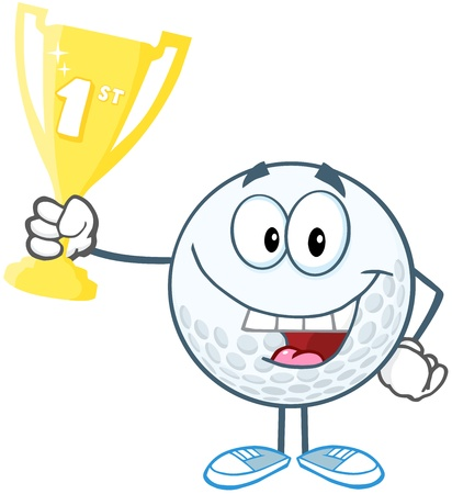 golf cartoon characters: Happy Golf Ball Holding First Prize Trophy Cup