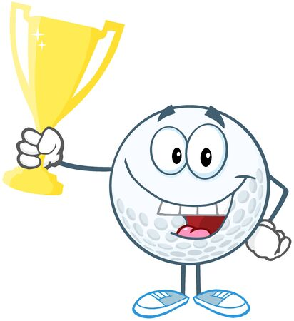 Happy Golf Ball Holding Prize Trophy Cup Vector