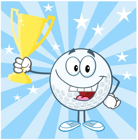 Happy Golf Ball Cartoon Character Holding Prize Trophy Cup Vector