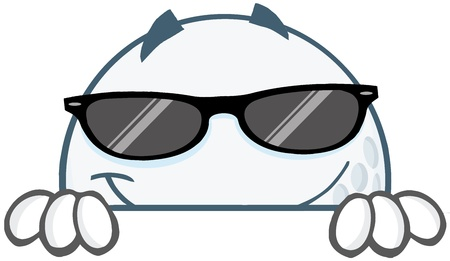 Smiling Golf Ball Cartoon Character With Sunglasses Hiding  Behind A Sign Stock Vector - 20749097