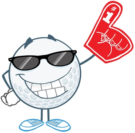 golf cartoon characters: Smiling Golf Ball With Sunglasses And Foam Finger