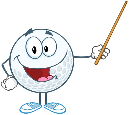 Smiling Golf Ball Cartoon Character Holding A Pointer Stock Vector - 20749102