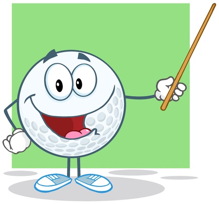 Smiling Golf Ball Character Holding A Pointer Stock Vector - 20749103