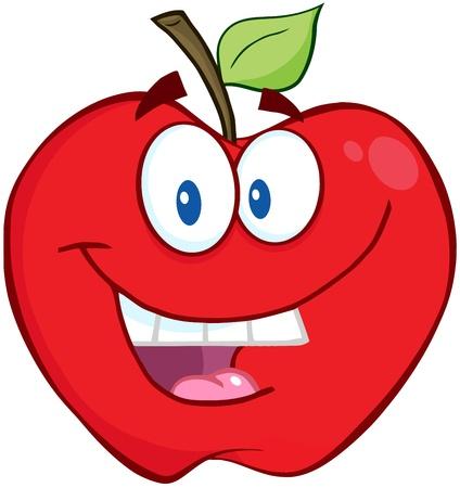 Lächelnde Apple-Karikatur-Maskottchen-Buchstaben Vektorgrafik