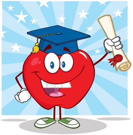 Smiling Apple Cartoon Character Graduate Holding A Diploma Vector