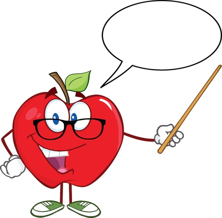 Smiling Apple Teacher Character With A Pointer And Speech Bubble Vector