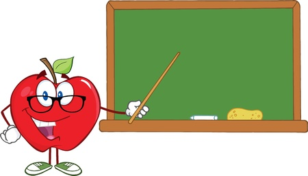 Smiling Apple Teacher Character With A Pointer In Front Of Chalkboard Vector