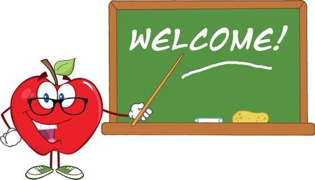 Smiling Apple Teacher Character With A Pointer In Front Of Chalkboard With Text Vector