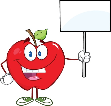 apple cartoon: Happy Apple Cartoon Character Holding Up A Blank Sign