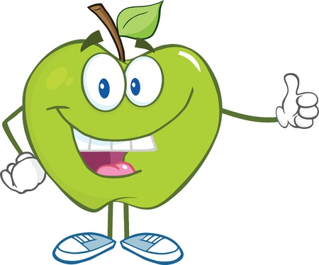 Smiling Green Apple Cartoon Character Holding A Thumb Up Vector