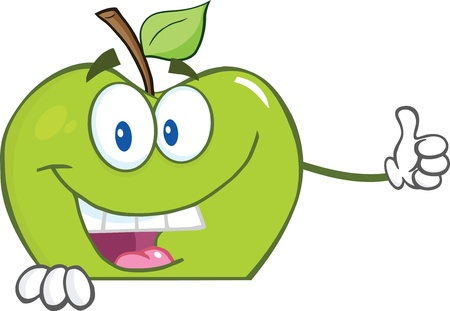 Smiling Green Apple Cartoon Character Holding A Thumb Up Over Blank Sign Vector