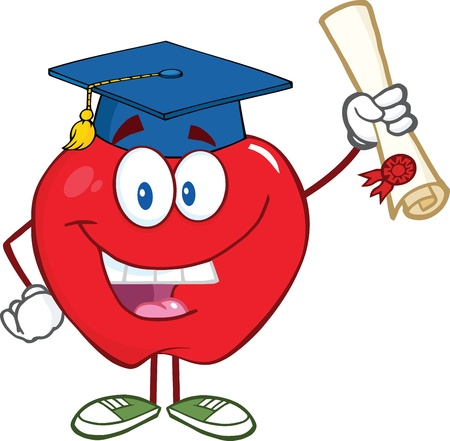 Smiling Apple Character Graduate Holding A Diploma Vector