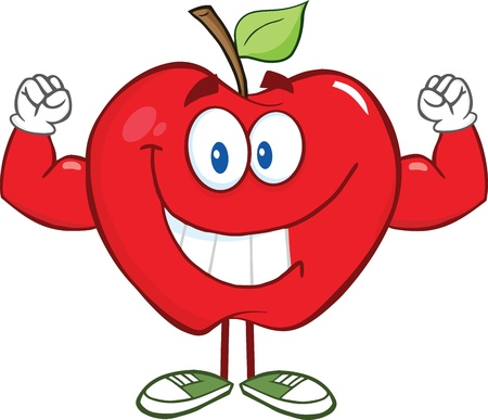 muscle arm: Apple Cartoon Character With Muscle Arms Illustration