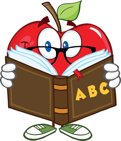 Smiling Apple Teacher Character Reading A Book Vector