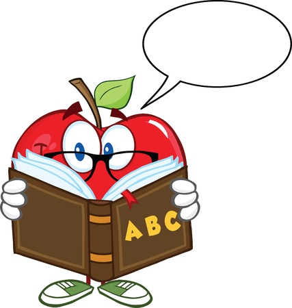 Smiling Apple Teacher Character Reading A Book With Speech Bubble Vector