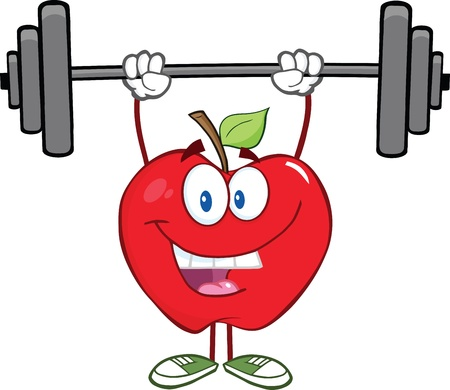 Smiling Apple Cartoon Character Lifting Weights Illustration