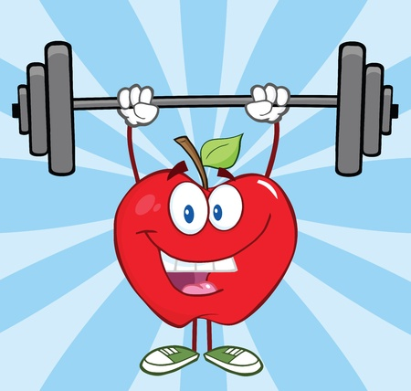 lifting weights: Happy Apple Cartoon Character Lifting Weights