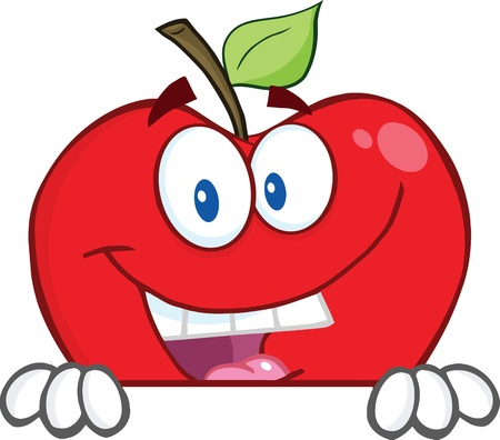 red apple: Smiling Red Apple Over A Blank Sign Illustration