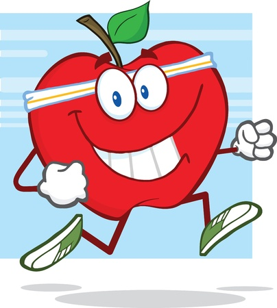 Healthy Red Apple Character Jogging Stock Vector - 20919374