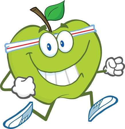 apple character: Healthy Green Apple Cartoon Character Jogging Illustration