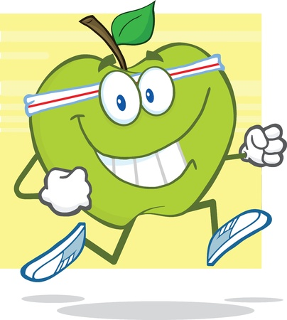 gr�ne apfel: Gesunde Green Apple Character Jogging