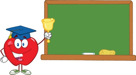 Smiling Apple Character Ringing A Bell For Back To School In Front Of Chalkboard Illustration