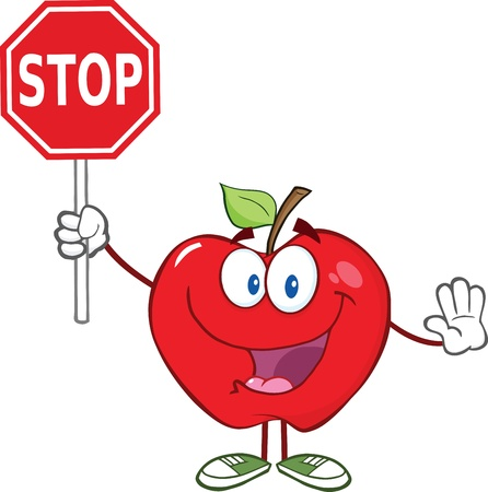 Apple Cartoon Mascot Character Holding A Stop Sign Vector