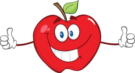 drawings image: Happy Red Apple Cartoon Character Giving A Thumb Up