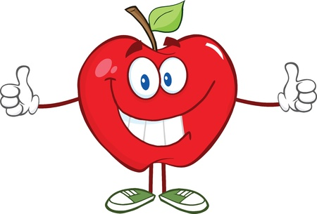 red apple: Happy Red Apple Character Giving A Thumb Up Illustration