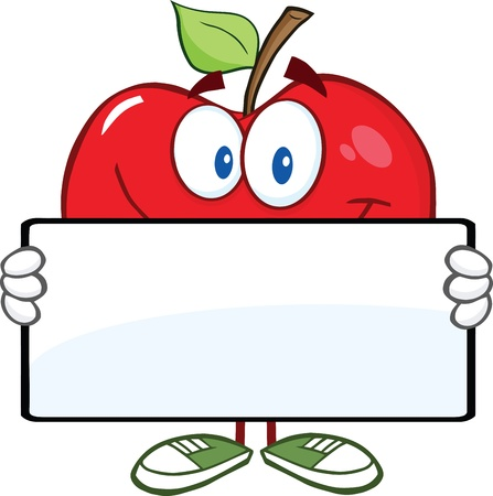 red apple: Smiling Red Apple Character Holding A Banner Illustration