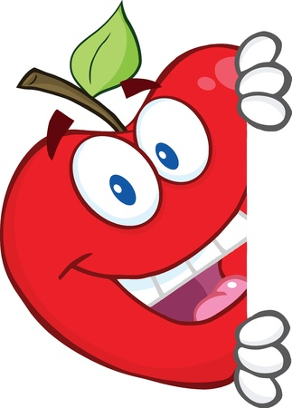 red apple: Smiling Red Apple Character Hiding Behind A Sign
